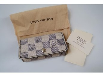 LOUIS VUITTON NYCKELHÅLLARE NYCKEL HÅLLARE KEY CASE HOLDER VIT DAMIER CANVAS