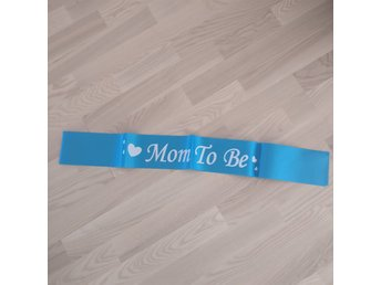 Mom to be band i blått. Nytt. Babyshower.