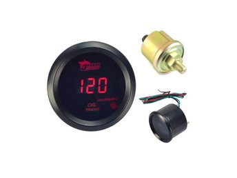 Digital Red LED PSI Oil Pressure Press Gauge Round With I...