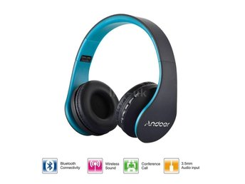 Foldable Wireless Trådlös Bluetooth Over Ear Headphones + MIC FM TF MP3 Blue