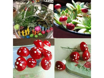 20PCS Röd Mini Mushroom Garden Prydnad Miniatyr Plant Potter Fairy Dollhouse AI