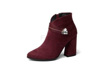 Dam Boots Pointed Toe Hoof Heels Women Boots Wine Red 40