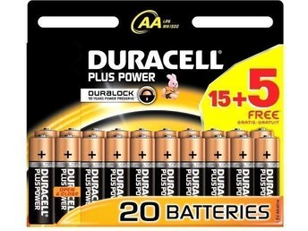 Duracell Plus Power AA 20 pack 4 st totalt 80st batterier nya öppnade exp 2024