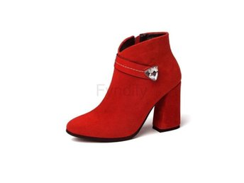 Dam Boots Pointed Toe Hoof Heels Women Boots Big red 40
