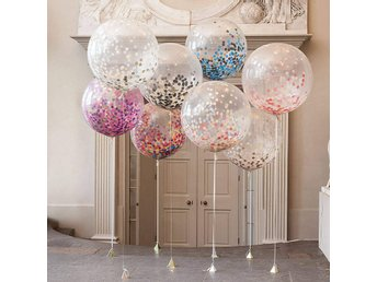 3pcs/Lot Clear Confetti Balloon Happy Birthday Wedding Pa...