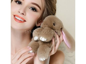 Fluffy Big Bunny Faux Rabbit Fur Nyckelring Keychain Brown Fri Frakt Ny