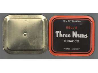 "Tobaksburk i plåt Bell's Three Nuns Tobacco ""None nicer"""