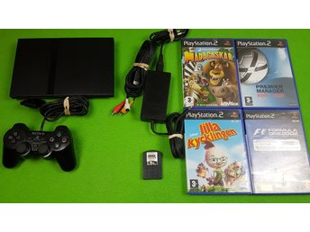 Playstation 2 Slim konsol kontroll , 4 Spel + minneskort Ps2 basenhet