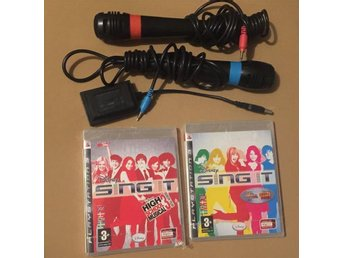 2 Singstar Mikrofoner + 2 SPEL Disney Sing It & High School Musical 3 , Till PS3