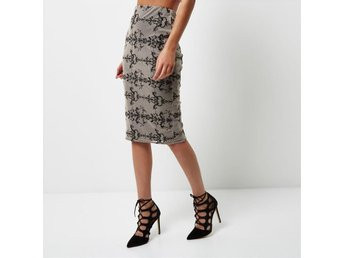 RIVER ISLAND Nude Embroidered Mesh Pencil Skirt