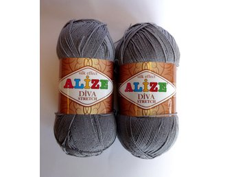 STRETCH Garn 100g/400m Grå Alize Diva silk effect