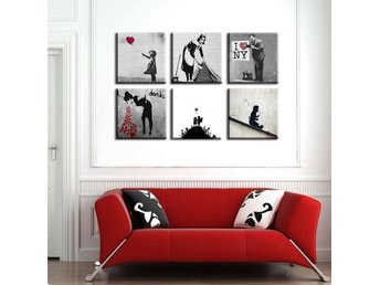 Zeit4art BANKSY Girl with baloon 6x Bild uppspänd CANVAS 90x60cm