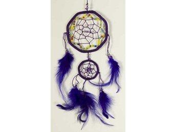 Hexagonal lila drömfångare med pärlat stjärnmönster, 2 cirklar, 9 cm - Borås - Hexagonal lila drömfångare med pärlat stjärnmönster, 2 cirklar, 9 cm - Borås