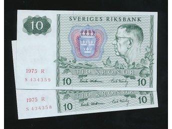 1975 S 10 kronor Sedel 2 st se bild - Västra Frölunda - 1975 S 10 kronor Sedel 2 st se bild - Västra Frölunda