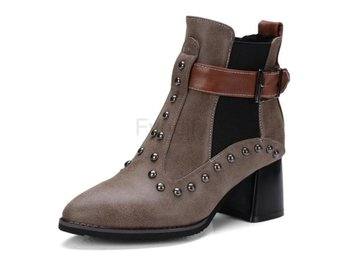 Dam Boots Fashion Buckle Strap Ankle Boots ZYL140 Brown 40