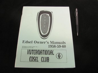 EDSEL Owners Manual 1958-59-60 International Edsel Club