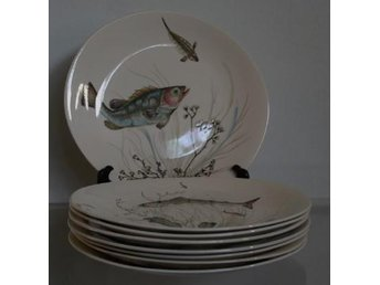 JOHNSON BROS fisktallrikar 8 st FISH design 2, 3 och 5 VINTAGE