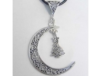 Julgran måne halsband / Christmas Tree moon necklace