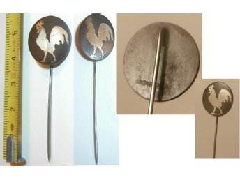 GEORG JENSEN Iron Pins w. Silver Inlay. Rooster Motif.VERY RARE! 1940s