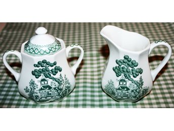 Gräddkanna o sockerskål Royal Staffordshire green Willow Pattern J&G Meakin