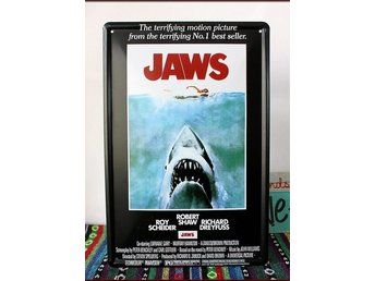 TIN SIGN Plåtskylt  JAWS HAJEN movie filmklassiker film
