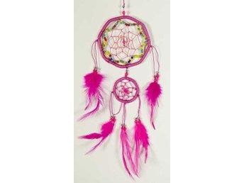 Hexagonal rosa drömfångare med pärlat stjärnmönster, 2 cirklar, 9 cm - Borås - Hexagonal rosa drömfångare med pärlat stjärnmönster, 2 cirklar, 9 cm - Borås