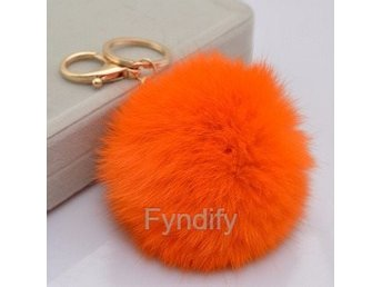 Nyckelring Rabbit Fur Ball Orange