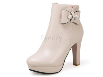 Dam Boots Toe Shoes Woman Zipper Platform CL017 Beige 40