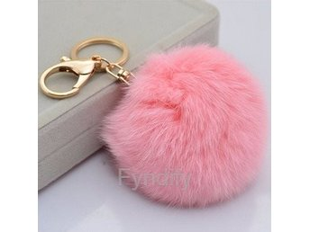 Nyckelring Rabbit Fur Ball Rosa