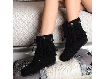 028be9e667b Mockasiner frans stövlar boots fransar svart mo.. (353039536) ᐈ Köp på  Tradera