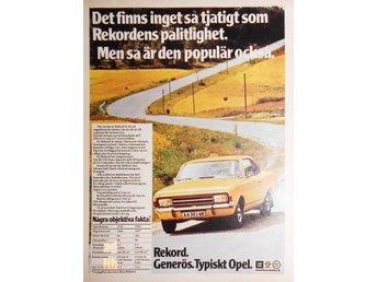 OPEL REKORD - TYPISKT OPEL, TIDNINGSANNONS Retro 1970 - öckerö - OPEL REKORD - TYPISKT OPEL, TIDNINGSANNONS Retro 1970 - öckerö