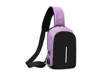 Anti-Theft Mini Backpack Oxford USB Port Travel Bag Lila