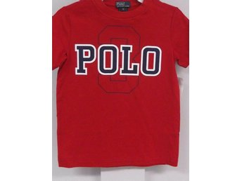 Polo Ralph Lauren T-shirt, stl 5 år, röd med tryck i marin/vitt - Upplands Väsby - Polo Ralph Lauren T-shirt, stl 5 år, röd med tryck i marin/vitt - Upplands Väsby
