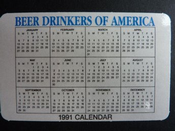 Öl drickarnas Kalender - Beer Drinkers of America Calendar Collecting item