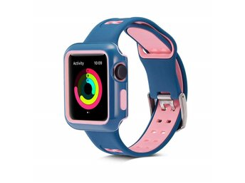 Apple Watch Case med armband 42 mm - silikon - blå/rosa