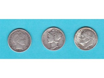 USA:  Barber, Mercury  & Roosevelt Dime, silver