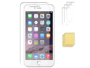 3-pack Apple iPhone 6/6S skärmskydd transparent med putsduk