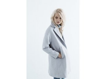 Warehouse boucle coat blue ullkappa i blå stl 36/38 s/m