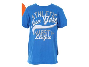 Blå t-shirt New York varsity league stl. 170