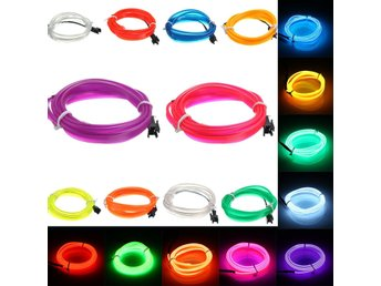1M Led Flexible EL Wire Neon Glow Light Rope Strip 12V Fo...