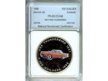 1957 FORD THUNDERBIRD ON SURINAME 1996 100 GUILDERS . PROOF DCAM