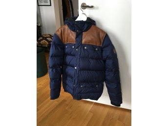 Vinterjacka för herr, Everest, mörkblå och läder.
