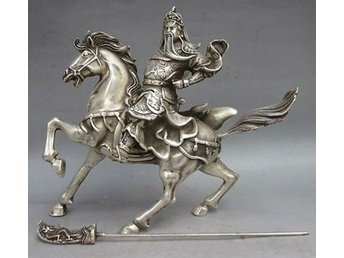 Old Tibet SIlver God Guan Yu  Warriorand and Horse Figurin