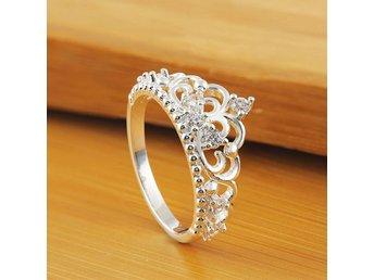 HELT NYTT!! Rings Silver Plated Fashion Women Lady Princess Queen Crown Silver F