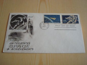 United States Space Achievements 1967 USA förstadagsbrev 2 frimärken FDC