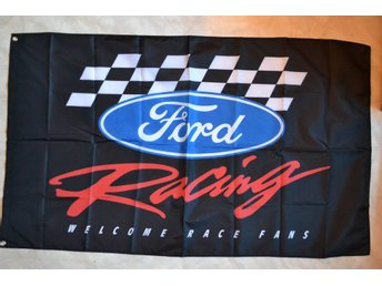 Ford Racing Rally Svart/Röd Logo Flagga 90*150cm Ny