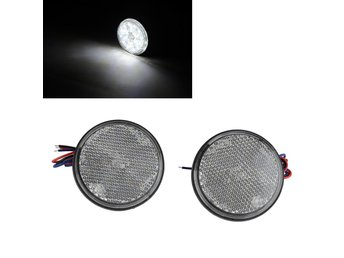 2x 24LED Motorcykel Rund Reflektor Hail Brake Turn Signal Light White Light 12V