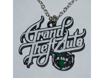Vinklad Text GTA V Logo, Grand Theft Auto 5 Halsband Metall (Smycke) Rockstar Ny