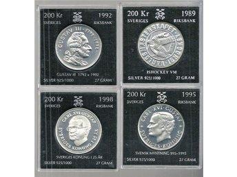 200 KRONOR 1989 , 1992 ,1995 och 1998 ( 4 styck ) - Gnosjö - 200 KRONOR 1989 , 1992 ,1995 och 1998 ( 4 styck ) - Gnosjö