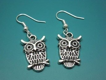 Owl Earrings. Örhängen Uggla. Äkta silver.